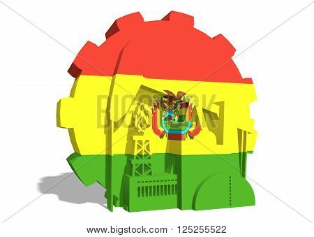 3D gear with oil pump gas rig and factory simple icons textured by Bolivia flag. Heavy and mining industry concept. 3D rendering