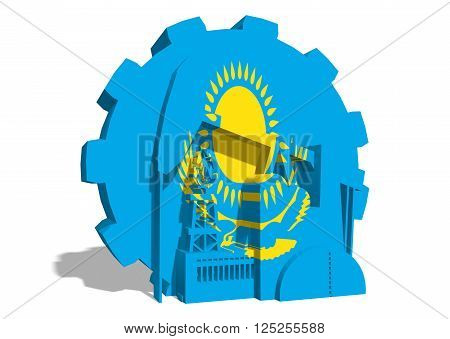 3D gear with oil pump gas rig and factory simple icons textured by Kazakhstan flag. Heavy and mining industry concept. 3D rendering