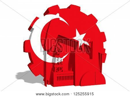 3D gear with oil pump gas rig and factory simple icons textured by Turkey flag. Heavy and mining industry concept. 3D rendering