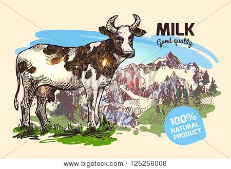 Beautiful hand drawn sketch illustration cow and mountains for your design