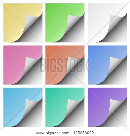 Set of page curls with shadow of blank color sheets of paper placed on white background. Element for advertising and promotional message.
