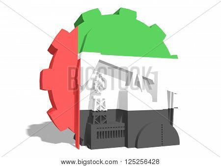 3D gear with oil pump gas rig and factory simple icons textured by United Arab Emirates flag. Heavy and mining industry concept. 3D rendering