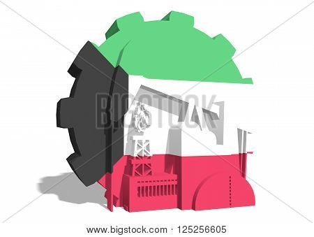 3D gear with oil pump gas rig and factory simple icons textured by Kuwait flag. Heavy and mining industry concept. 3D rendering