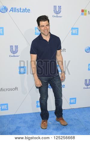 LOS ANGELES - APR 7:  Max Greenfield at the WE Day California 2016 at the The Forum on April 7, 2016 in Inglewood, CA