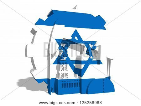 3D gear with oil pump gas rig and factory simple icons textured by Israel flag. Heavy and mining industry concept. 3D rendering