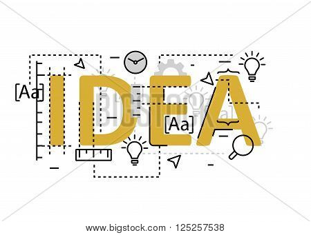Idea concept flat line design with icons and elements. Modern idea concept vectors collection. Thin line flat design banners for website and mobile website easy to use and highly customizable