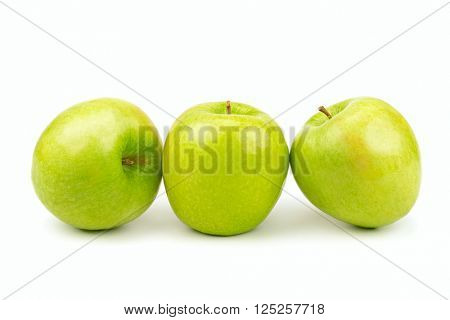 collection green apples isolated on white