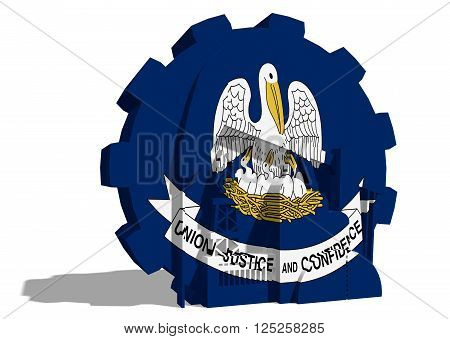 3D gear with oil pump gas rig and factory simple icons textured by Louisiana flag. Heavy and mining industry concept. 3D rendering