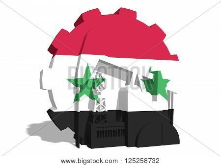 3D gear with oil pump gas rig and factory simple icons textured by Syria flag. Heavy and mining industry concept. 3D rendering