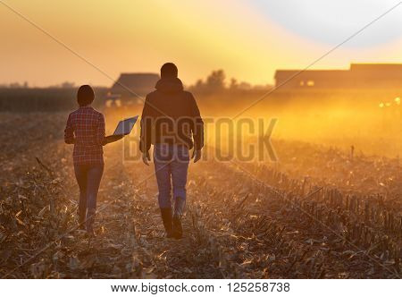 Farmers Walking On Field During Baling