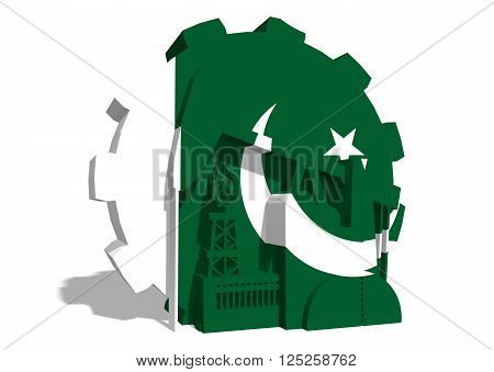 3D gear with oil pump gas rig and factory simple icons textured by Pakistan flag. Heavy and mining industry concept. 3D rendering