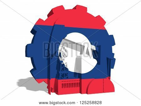 3D gear with oil pump gas rig and factory simple icons textured by Laos flag. Heavy and mining industry concept. 3D rendering