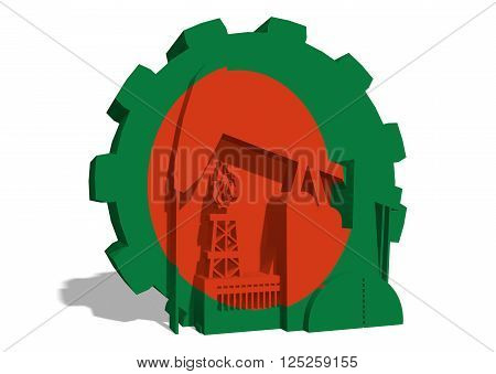 3D gear with oil pump gas rig and factory simple icons textured by Bangladesh flag. Heavy and mining industry concept. 3D rendering