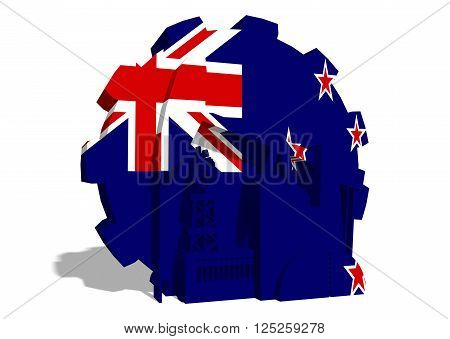 3D gear with oil pump gas rig and factory simple icons textured by New Zealand flag. Heavy and mining industry concept. 3D rendering