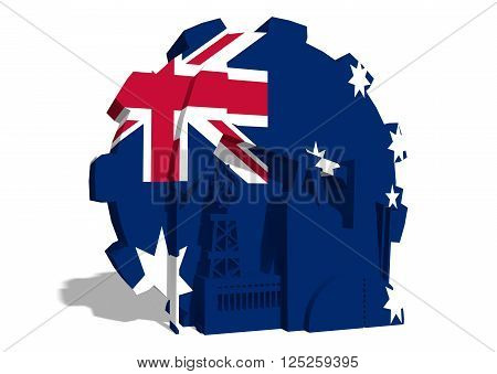 3D gear with oil pump gas rig and factory simple icons textured by Australia flag. Heavy and mining industry concept. 3D rendering