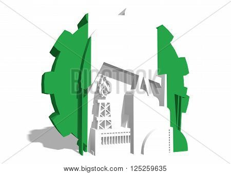3D gear with oil pump gas rig and factory simple icons textured by Nigeria flag. Heavy and mining industry concept. 3D rendering