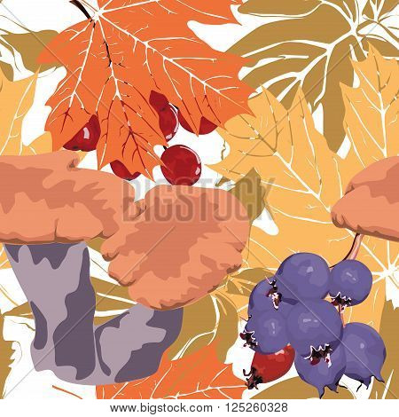 Seamless colorful background with berries, leaves and mushrooms