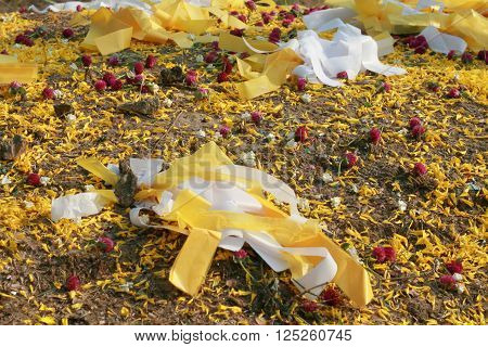 Colorful papers and petals for decorating the Chinese ancestor's grave in Buddhism belief
