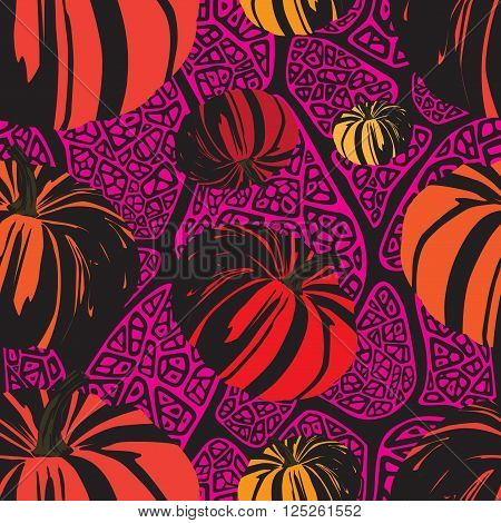 seamless pattern with pumpkins on the abstract background