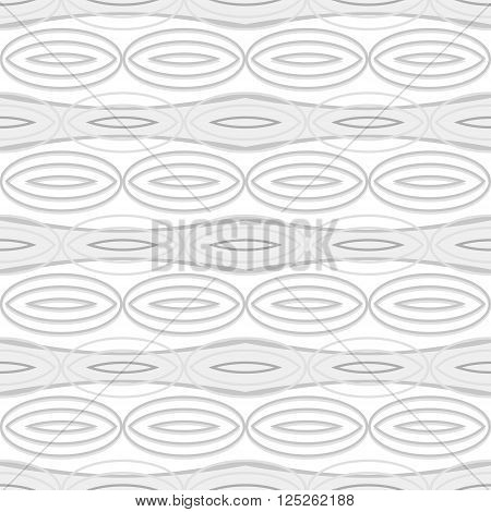Abstract seamless geometric black and white pattern with elliptical elements. Horizontal rows of large gray ovals. Vector illustration for fabric, paper and other