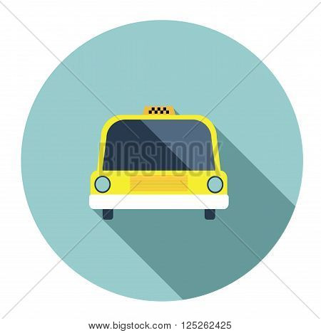 Isolated vector yellow taxi cab flat icon
