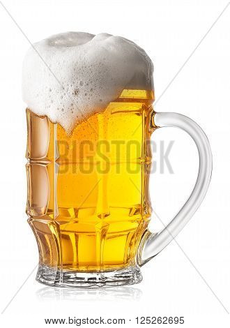 Faceted glass of foamy beer isolated on white background