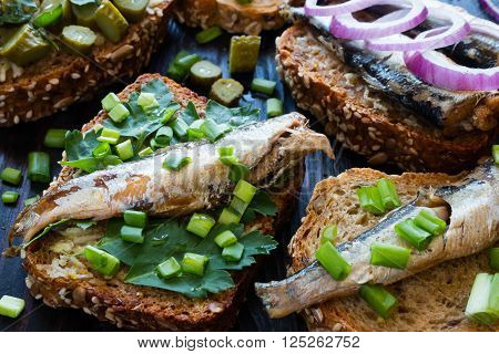 Sprats On Bread With Parsley And Chives