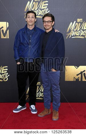 LOS ANGELES - APR 9:  Andy Samberg, Jorma Taccone at the 2016 MTV Movie Awards Arrivals at the Warner Brothers Studio on April 9, 2016 in Burbank, CA