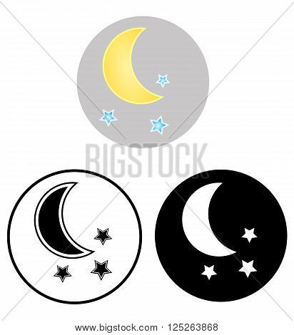 The moon and stars.  Three Vector icons