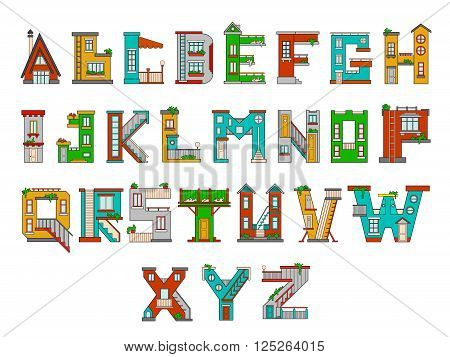 Illustration of children's alphabet. Learning learning letters in kindergarten in kindergarten. Letters isolated