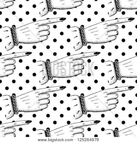 Pointing fingers seamless pattern in vintage style vector