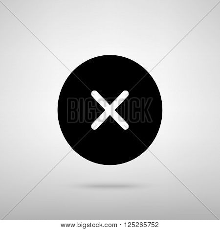 Cross sign. Black with shadow on gray.