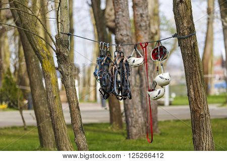 Harnesses and other protective gear for rock climbers