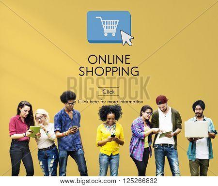 Online Shopping E-business Digital Technology Concept
