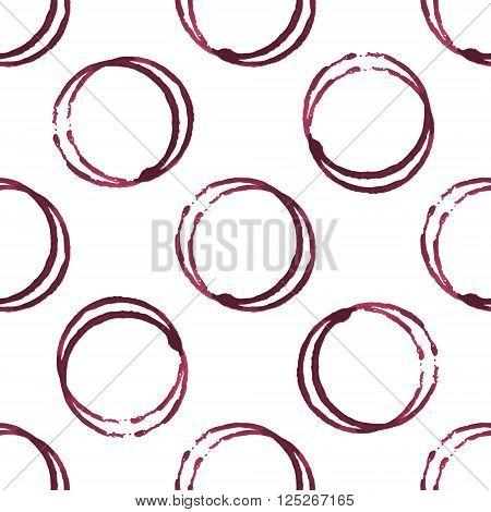 Wine stains seamless pattern on white background