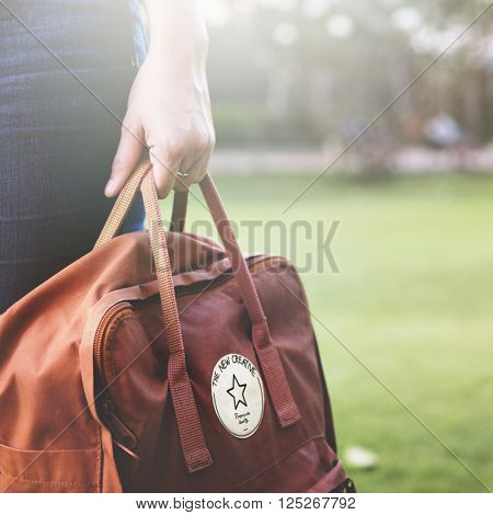 Woman Travel Bagpacker Weekend Relax Concept