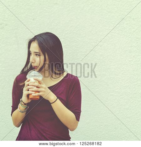 Woman Drinking Beverage Milk Tea Drinks Waiting Concept