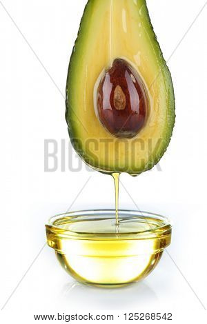 Fresh avocado and oil isolated on white background