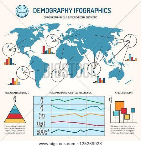 Demographic infographics. Human line vector infographics template