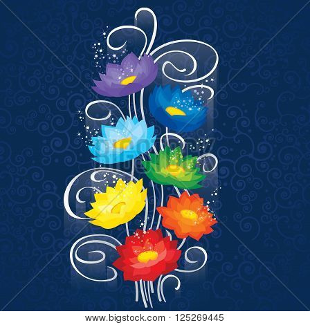 Glowing Chakras lotuses.This image is a easy to edit vector illustration. Image contains gradients transparencies blending modes. EPS 10.