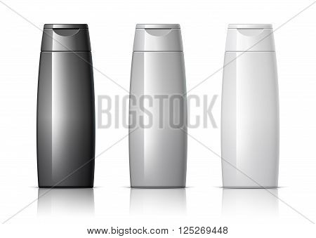set of cosmetic products on a white background. Cosmetic package collection for shampoo in white black and gray colors. vector illustration. 3d