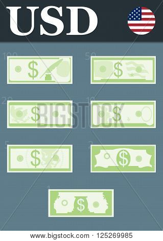 Abstract 100 dollars, 50 dollars, 20 dollars, 10 dollars, 5 dollars, 2 dollars, 1 dollar banknotes.