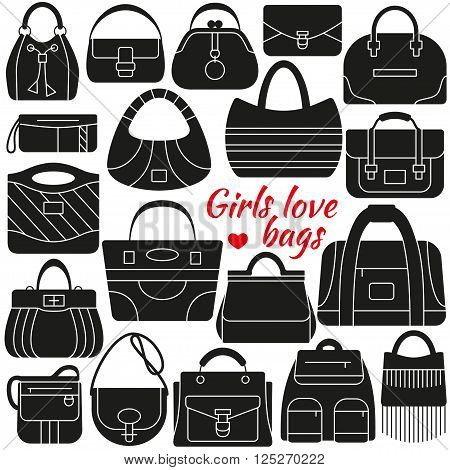 Set of silhouette icon. Different women bags. Simple design. Vector illustration
