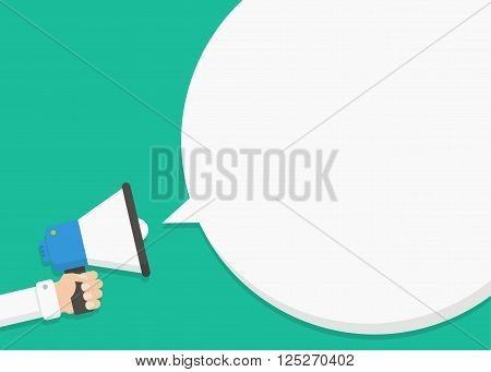 Hand holding megaphone with blank speech bubble. Empty speech bubble for advertising warning announce. Speak shout to call announcing through a megaphone. Announcing the alarm to warn.
