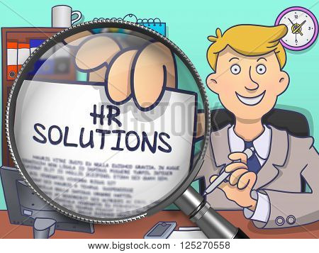 HR Solutions. Cheerful Officeman Welcomes in Office and Shows Paper with Inscription through Magnifying Glass. Multicolor Doodle Illustration.
