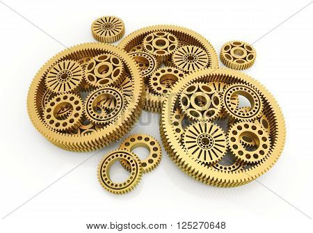 gears gold isolated on white background. 3d image
