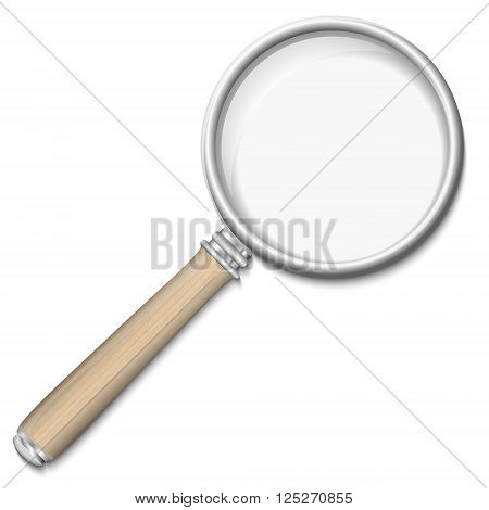 Magnifying glass retro magnifier with wooden handle isolated on white background