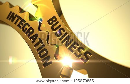 Business Integration on Mechanism of Golden Cog Gears with Lens Flare. Business Integration - Illustration with Glow Effect and Lens Flare. Business Integration - Concept. 3D Render.