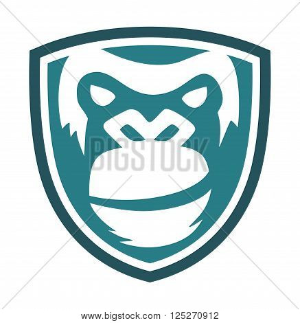 gorilla face design on a shield, suitable for the icon, print shirts, app icons, emblem and more