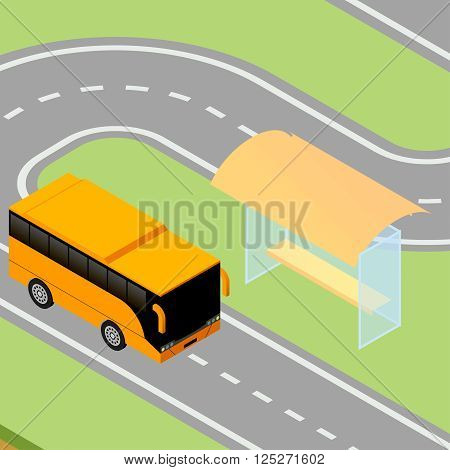 Isometric vector illustration of yellow tour bus pulls up to the bus stopIsometric vector illustration of yellow tour bus pulls up to the bus stop